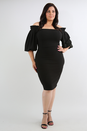 Pleated Shoulder Body-Con Dress