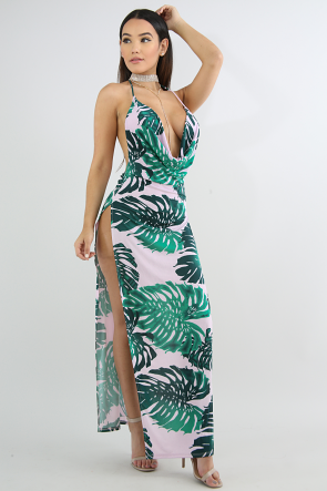 Drape Maxi Tropical Leaf Dress