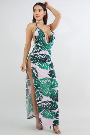 Drape Maxi Tropical Leaf Dress