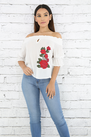 Embroidered Floral Accordion Top