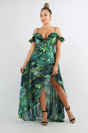 Swirled Tropical Maxi Dress