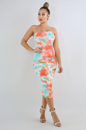 Cotton Splash Dye Tube Dress