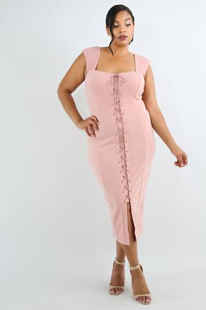 Corset Eyelet Body-Con Dress