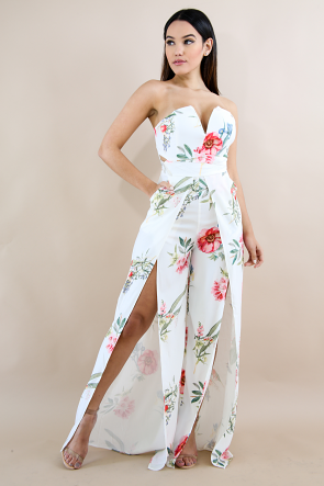 Floral Cut Out Flare Leg Jumpsuit