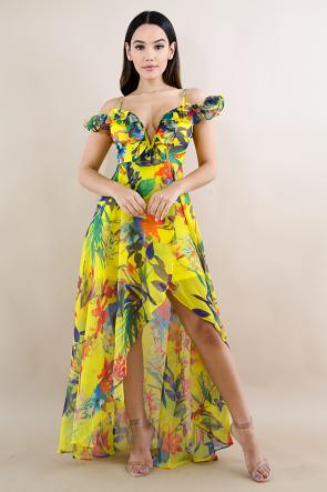 Swirled Tropical Maxi Dress