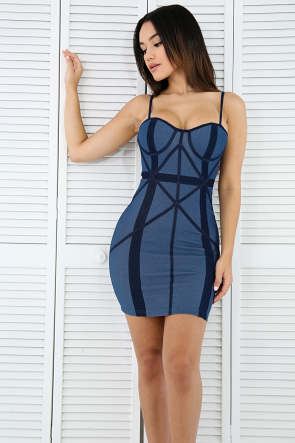 X-Trim Denim Body-Con Dress