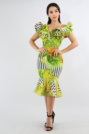 Swirl Water Leaf Body-Con Dress