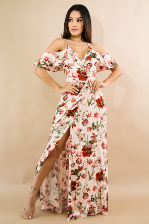 Floral Surplice Self-Tie Maxi Dress
