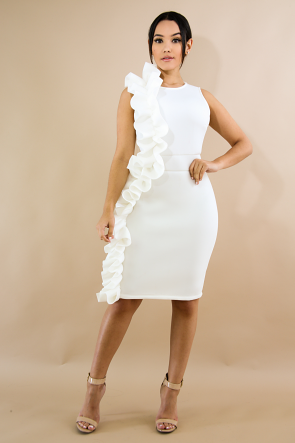 Swirled Ruffle Body-Con Dress