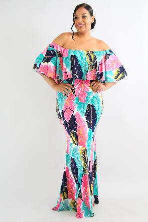 Ruffle Tiered Leaf Bardot Maxi Dress