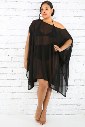 Sheer Poncho Top Dress