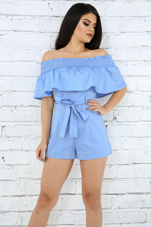 Flare Accordion Off Shoulder Romper