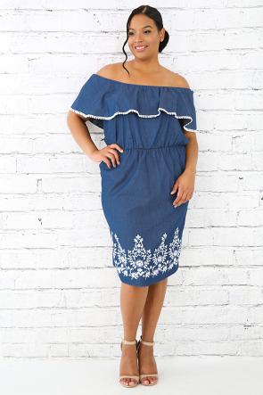 Textured Denim Crochet Dress
