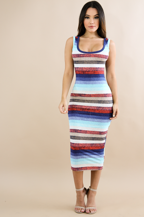 Lingerie Stripe Bodycon Dress