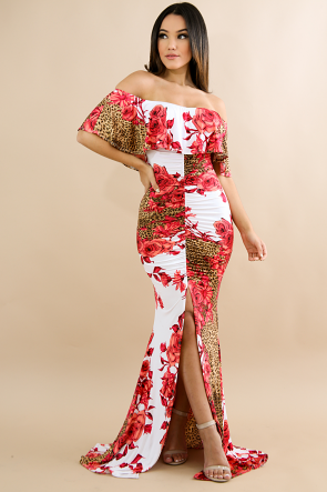 Scrunched Leopard Roses Maxi Dress