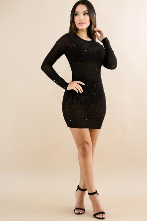 Sheer Star Night Rhinestone Dress