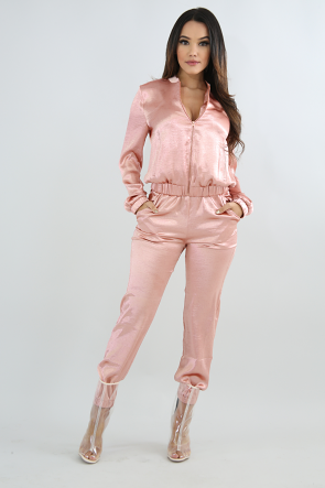 Silky Bomber Pant Set