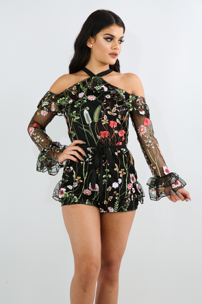 Mesh in Flowers Romper