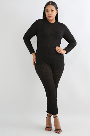 Swirl Sheer Lace Jumpsuit
