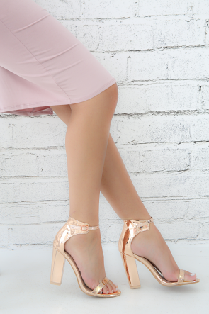 Rose Gold Delicious Metallic Ankle Strap Open Toe Heel
