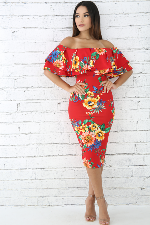 Hibiscus Floral Ruffled Dress