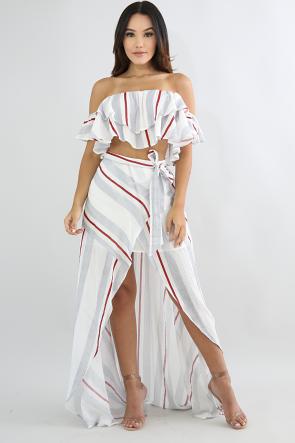 Overlay Striped Skirt Set