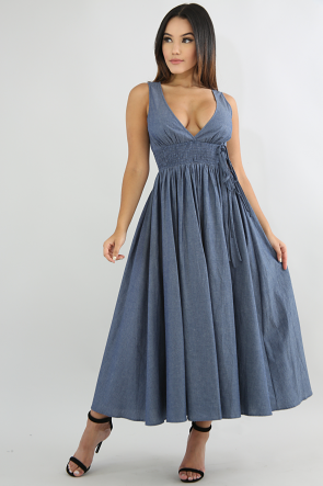 Denim Scrunched Tie Maxi Dress