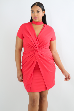 Choker Twisted Knot Body-Con Dress