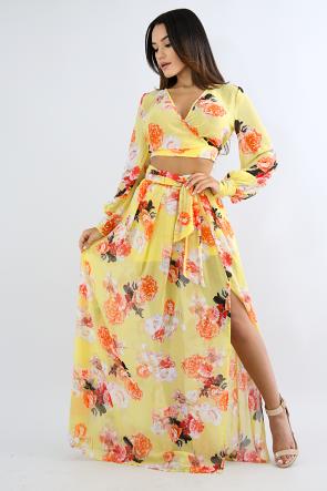 Floral Chiffon Slit Skirt Set