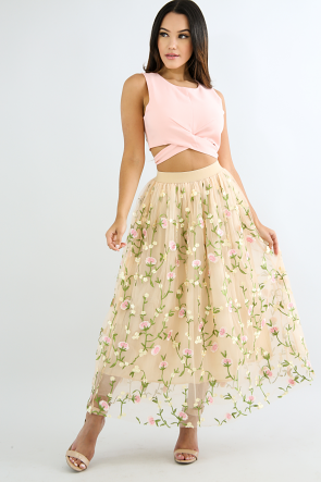 Embroidered Floral Sheer Skirt