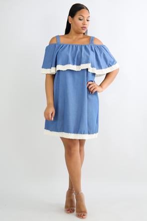 Crochet Denim Dress