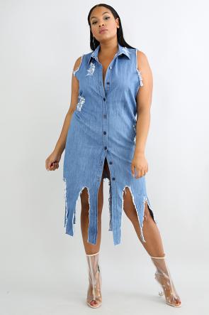 Edgy Distressed Denim Dress
