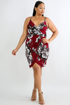 Surplice Floral Body-Con Dress
