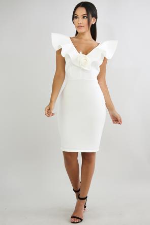 Rose Peplum Body-Con Dress