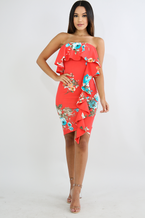 Floral Flare Swirled Body-Con Dress