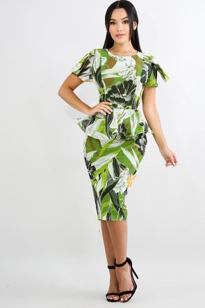 Forest Swirl Body-Con Dress