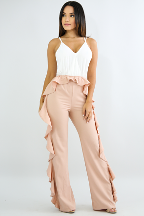 Flare Two Tone Jumpsuit