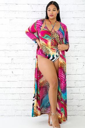 Leopard Color Dye Swimsuit Robe Set