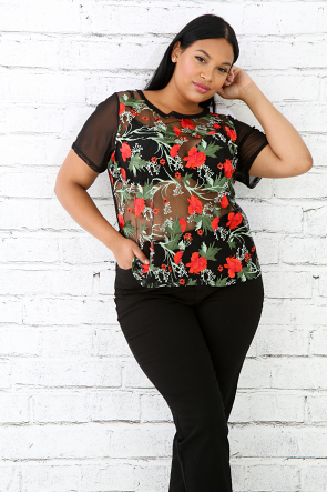 Floral Embroidered Sheer Mesh Top