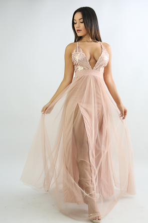 Sequin Tull Maxi Slit Dress