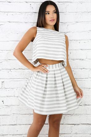 Striped Pleat Flare Skirt Set