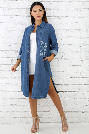Graphic Denim Dress