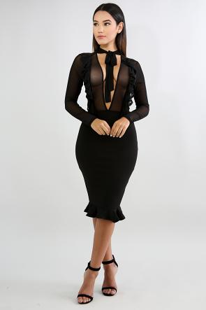 Flutter Tier Sheer Body-Con Dress