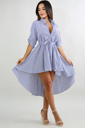 Button Striped High Low Dress