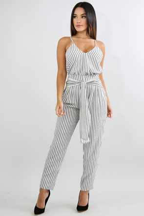 Self Tie Striped Palazzo Pant Set