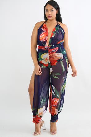 Floral Sheer Slit Jumpsuit