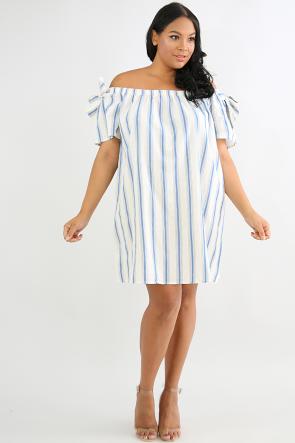 Bow Sleeve Flare Dress
