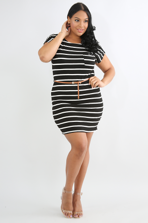 Bar-dot Striped Dress