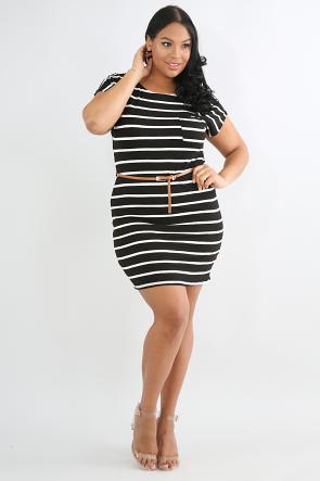 Bar-dot Striped Dress