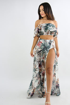 Tropical Slit Maxi Skirt Set